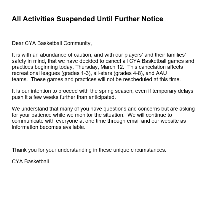 All Activities Suspended Until Further Notice